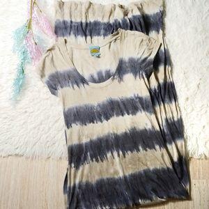 C&C California Striped Tie Dye Tee Maxi Dress